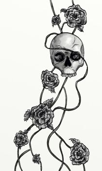 A Skull and Some Roses by carriehowarth