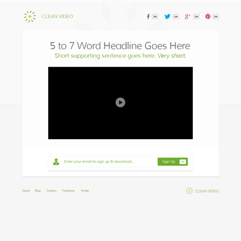 Clean Video Landing Page by 723media
