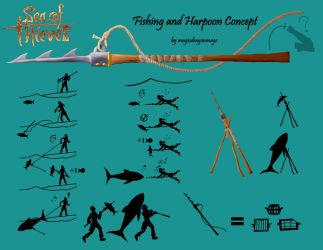 Sea of Thieves Harpoon and Fishing Concept by magicdragonmage