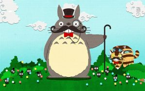 Fancy Totoro and friends by MaeMaeTwin