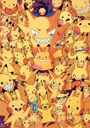 Full of Pikachus - Collab with Willow-San by Pikila