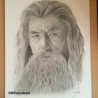 Gandalf the Grey Portrait by Mikeloadsart
