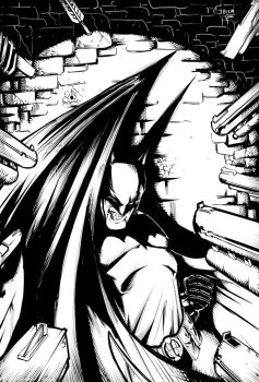 Batman in a corner by greenhickup