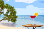 Exotic drink on the beach by Cheezen