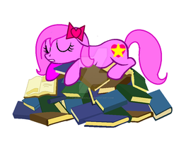 Meh Bed of Books - Pinky in MLP version (base) by AishaDahlia