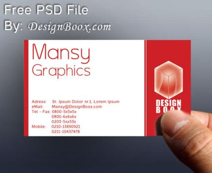 Red Business Card PSD Template by DesignBoox