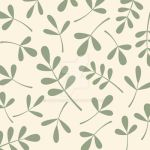 Assorted Leaves Green on Cream