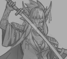 Samurai female PROGRESS! by NicoFari
