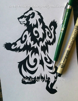 Climbing Grizzly Bear Tribal Design by WildSpiritWolf