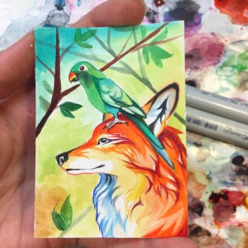 Fox and Parrot Art Card by Lucky978