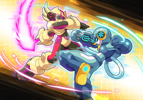 Commisison: Cryo Man.EXE VS Hyperion.EXE by ultimatemaverickx