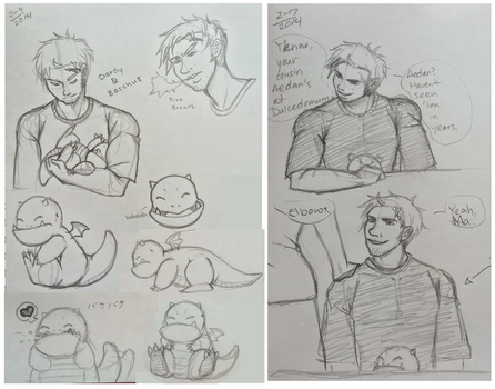 DD: Gordy and BARNEY Sketch Dump by chiyokins