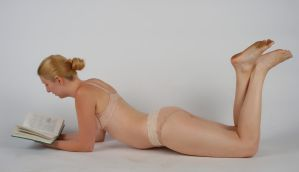 Body Reference - Lying  on Stomach - Reading by Danika-Stock
