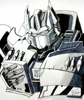 Optimus Prime - Inktober Day8 by arceeenergon