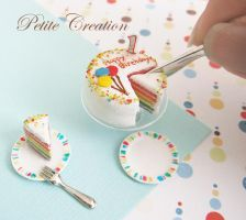 12th scale rainbow bday cake3 by PetiteCreation
