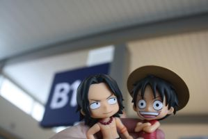 Luffy and Ace at the Airport Gate by here-and-faraway