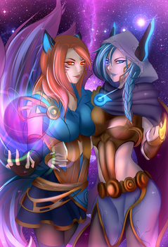 [COM] Cosmic Ahri and Xayah by Aokun