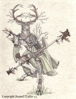 Anthro Buck Poised for Battle by RussellTuller