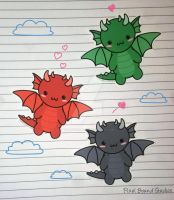 Chibi Dragon Stickers by pixelboundstudios