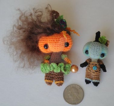 Micro Pumpkin Head Dolls for EVERYDAY by peggytoes