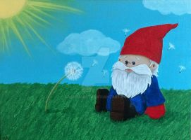 Gnome and Dandelions Sitting in the Sun by grammabeth