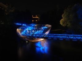 Graz at night - Murinsel -  Island in the Mur by CeaSanddorn