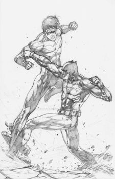 Nightwing and Cerberus pencils by MercyInk87