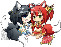 (AT) Chibi Tamano and Aradia by Poi-Frontier