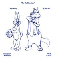 Bugs Bunny and Big Bad Wolf by darkmane