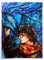 ACEO-Harry and thestral by atorife