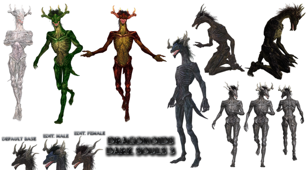 DS3 Dragonoids pack png xps mmd fbx by Tokami-Fuko