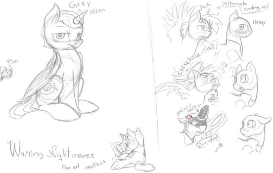 Waking Nightmares Sketches Fan art by Crystalchan2D