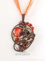 Orange moon pendant by ukapala