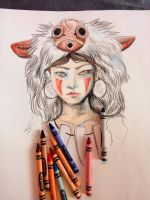 Mononoke in Crayon by savannahrcb