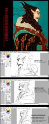 My painting process - Old Mephis by Wavesheep