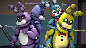 Original, Unwithered, Toy Bonnie and Springbonnie by TalonDang
