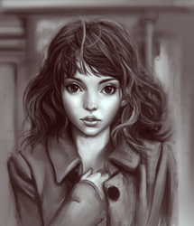 more stylized face  model: Lauren mayberry by ChrisKimArt