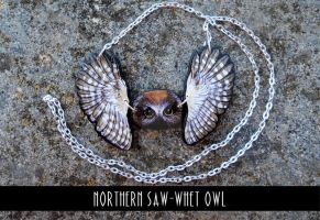 Northern Saw-Whet Owl - plywood pendant by MithriLady