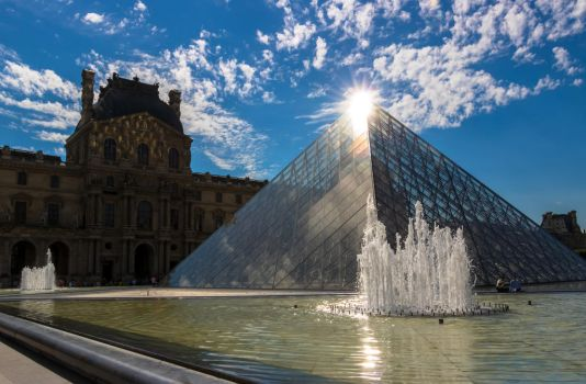 Above the Translucid Pyramid - Louvre Museum Paris by Cloudwhisperer67