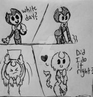 Bendy sketch: white day? by BendyantheSinMachine