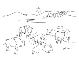 Herd of Buffalo drawing (line art) by electronicdave