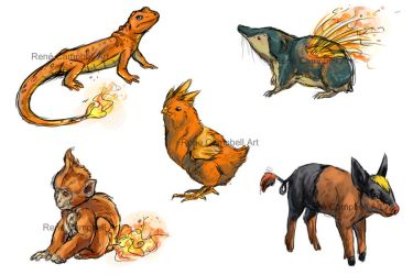 Realistic Pokemon Sketches: Fire Starters by ReneCampbellArt