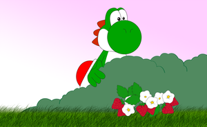 Yoshi and the strawberries by ZeFrenchM