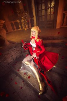 Waiting for master Saber/Extra from Fate/extra by SelenaAdorian