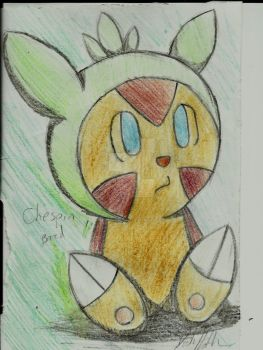 Pencil Colored Chespin Bored by Nighttime-Sun