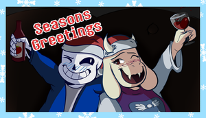 Undertale - Sans and Toriel Christmas Card by AnthRamen
