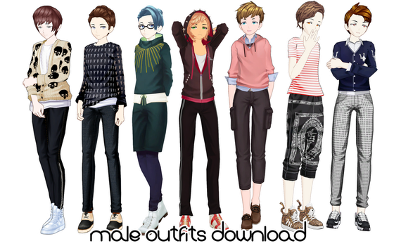 [MMD DL] Male outfits by UnluckyCandyFox