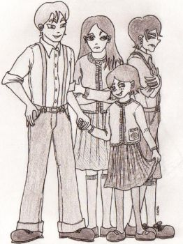 peter, susan, edmund and lucy by chainedtothemirror