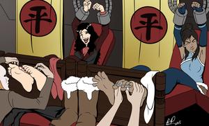 Korra and Asami Tickled (Colour) by oneortheother