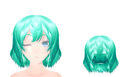 MMD Messy green hair Download by 9844